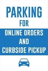 Parking Online and Curbside Sign