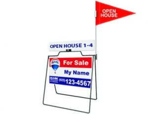 Real Estate A Frame with Pennant Flag